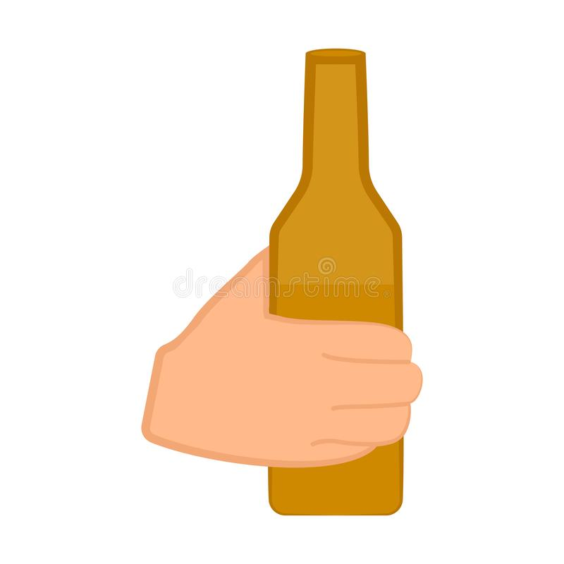 Рука держа бутылку иллюстрация вектора