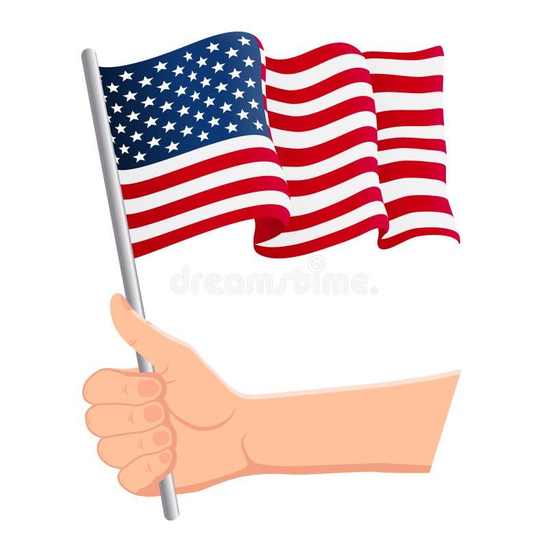 Рука держа и развевая национальный флаг Соединенных Штатов Америки Вентиляторы, День независимости, патриотическая концепция r иллюстрация штока