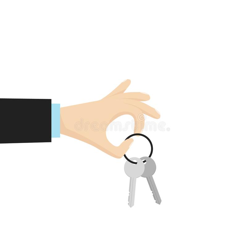 Рука держа ключ дома Иллюстрация вектора в плоском стиле бесплатная иллюстрация