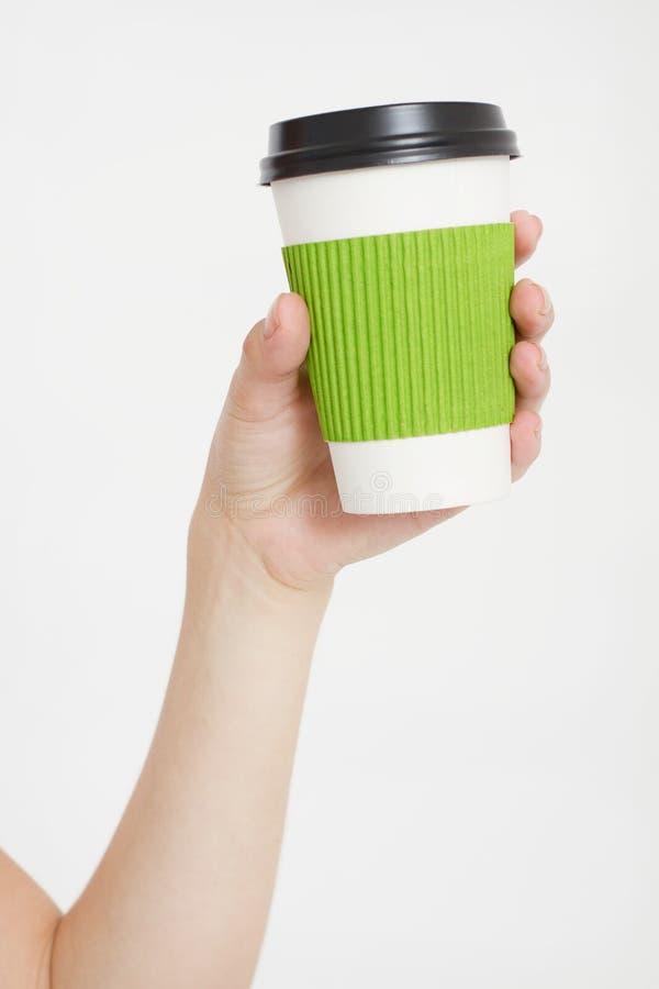Рука держа кофе Питье утра Взгляд сверху Насмешка вверх скопируйте космос шаблон уговариваний стоковые фотографии rf