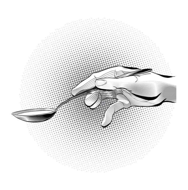 Рука держа ложку Подавать кто-нибудь также вектор иллюстрации притяжки corel бесплатная иллюстрация