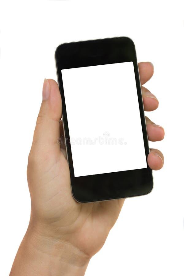 рука держа самомоднейший телефон стоковая фотография rf