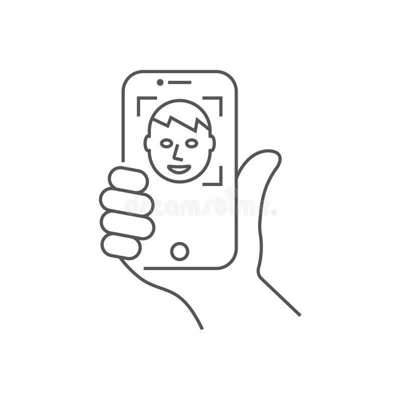 Рука держа смартфон, вертикальное положение Изображение или распознавание лиц автопортрета r editable иллюстрация штока
