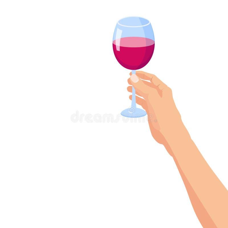 Рука держа стекло красного вина Знамя стиля плаката мультфильма вектора шаблона изолированное иллюстрацией иллюстрация вектора