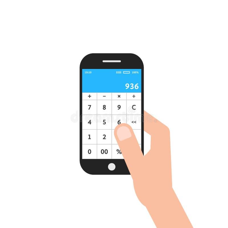 Рука держа телефон с калькулятором app бесплатная иллюстрация