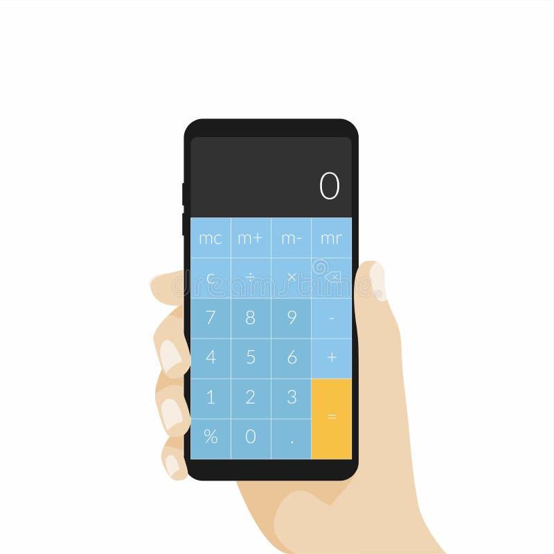 Рука держа телефон с калькулятором app иллюстрация штока