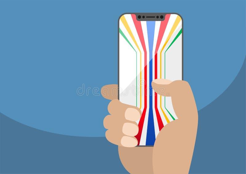 Рука держа телефон шатона свободный умный Родовая красочная показанная предпосылка бесплатная иллюстрация