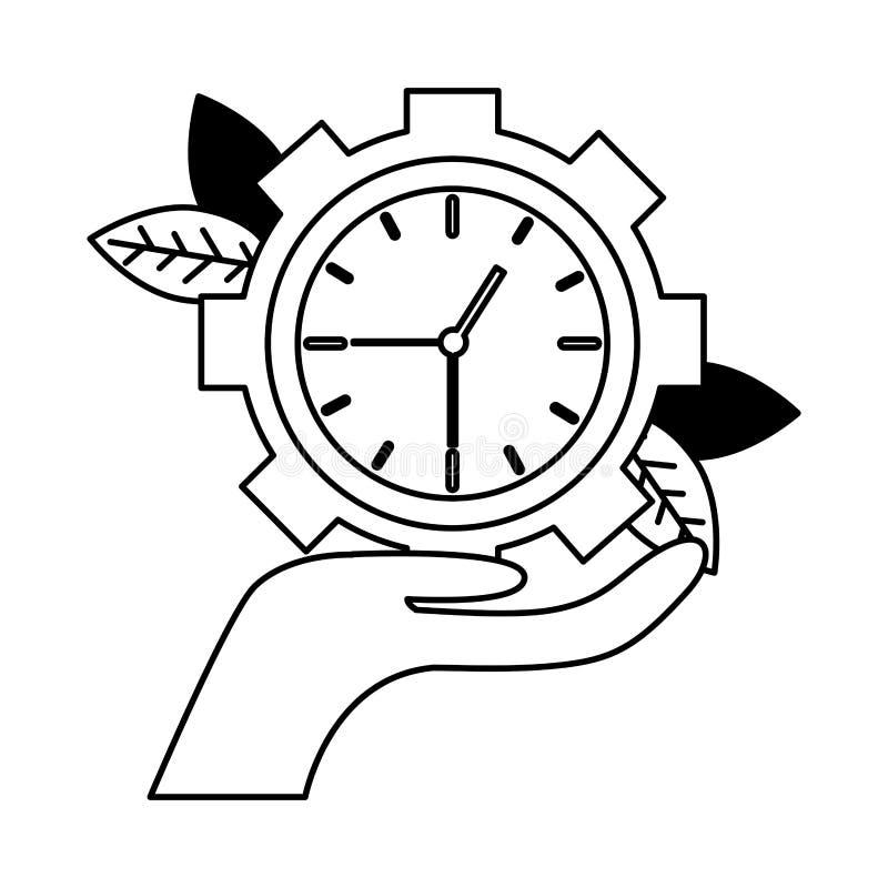 Рука держа часы иллюстрация штока