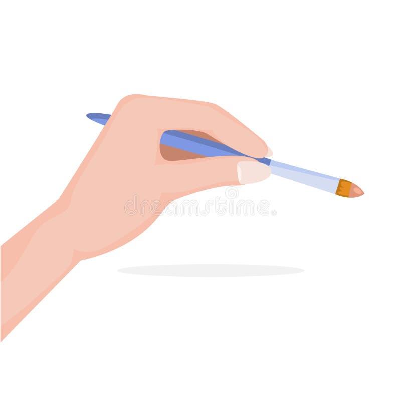 Рука держа щетку состава Идея красоты иллюстрация вектора