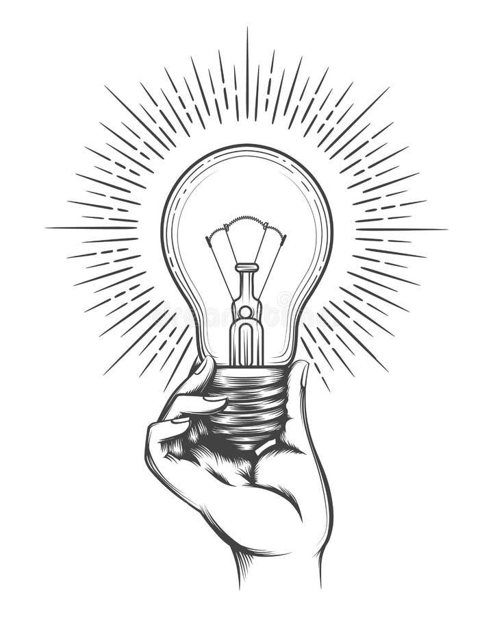Рука держа эскиз электрической лампочки иллюстрация штока