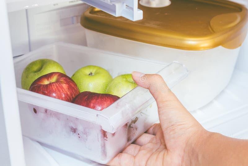 Рука держа яблоки в идеале холодильника для диеты стоковые изображения