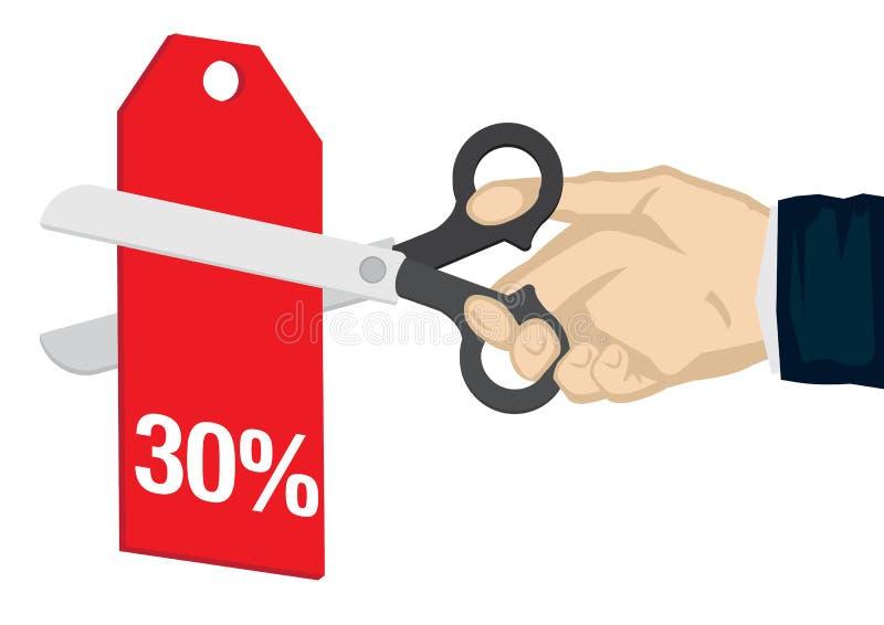 Рука держа a scissor, режущ 30% с ценника Концепция продажи, скидки; продвижение или торговая сделка : иллюстрация вектора