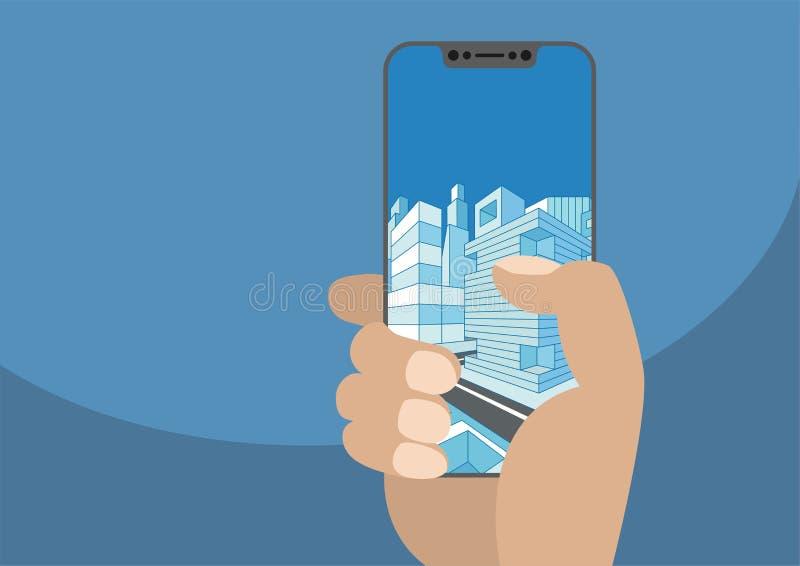 Рука держа smartphone современного шатона свободный Город показанный на frameless сенсорном экране иллюстрация вектора