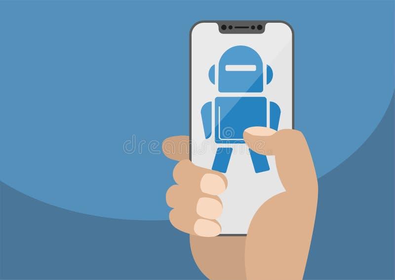 Рука держа smartphone современного шатона свободный Значок робота показанный на сенсорном экране иллюстрация штока