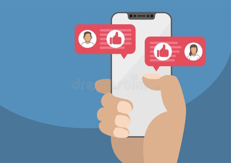 Рука держа smartphone современного шатона свободный как концепция для социальной сети иллюстрация вектора