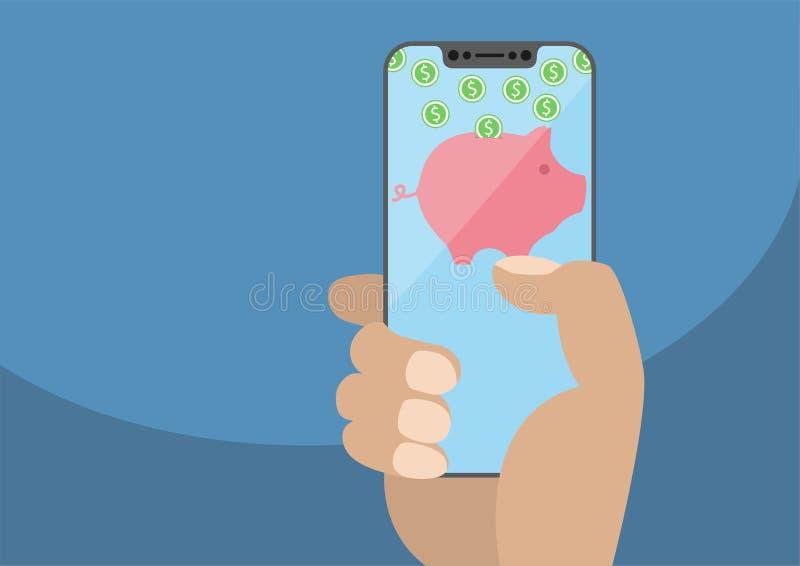 Рука держа smartphone современного шатона свободный Монетки символа и доллара копилки иллюстрация вектора