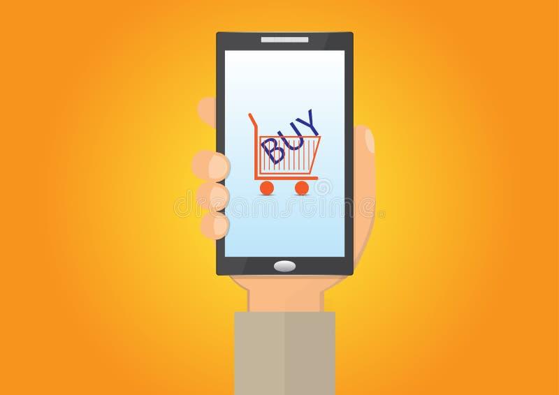 Рука держа smartphone с покупкой магазинной тележкаи и текста, концепцией технологии дела иллюстрация вектора