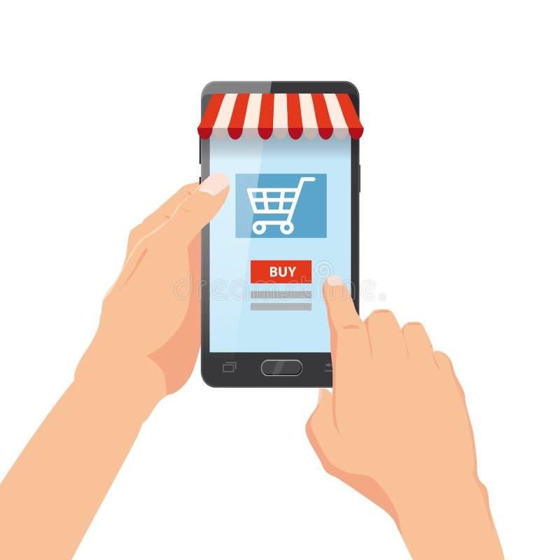 Рука держа smartphone с хозяйственной сумкой Заказ интернета Онлайн supermaket Иллюстрация вектора в стиле шаржа иллюстрация штока