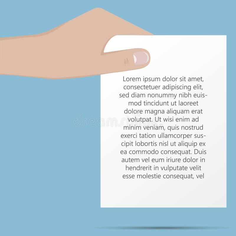 Рука держит иллюстрацию вектора документа бумажную Illustra дела иллюстрация вектора