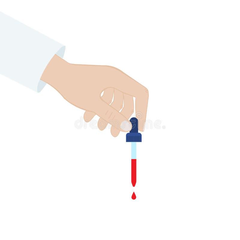 Рука держит капельницу Пипетка крови изолированная иллюстрация руки кнопки нажимающ женщину старта s иллюстрация вектора