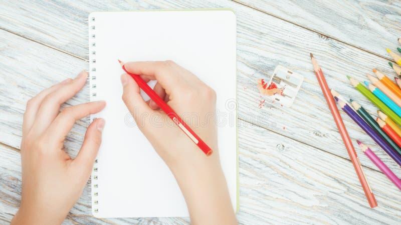 Рука держит покрашенный карандаш стоковые изображения