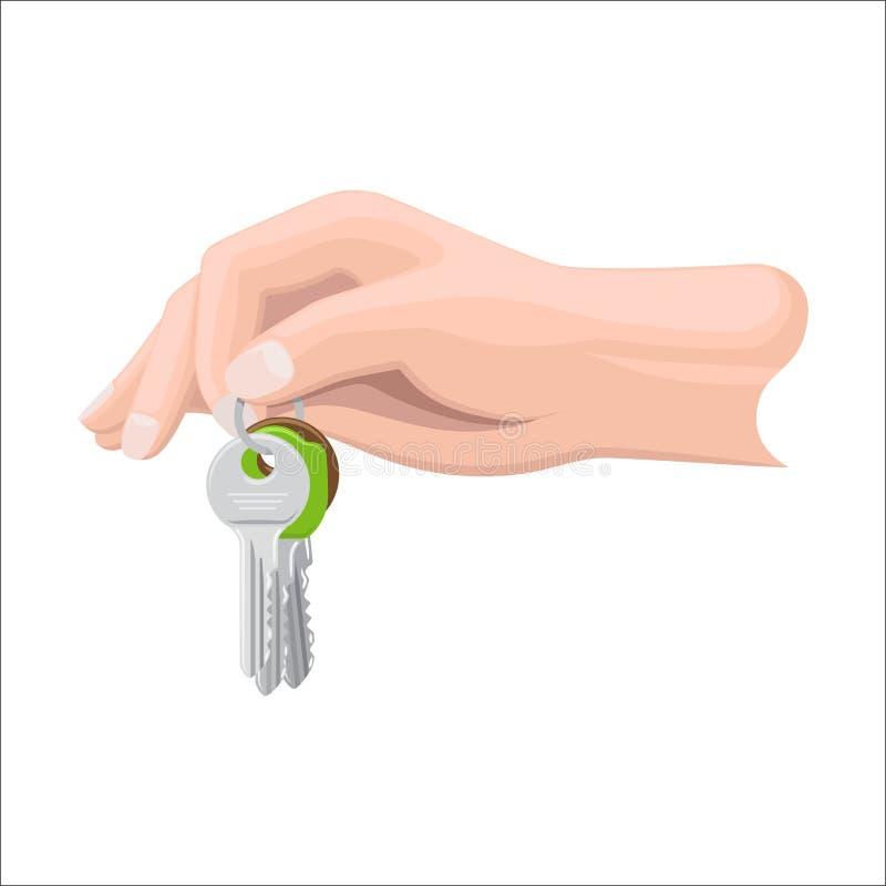 Рука держит пук ключей иллюстрацией ключевого кольца иллюстрация вектора