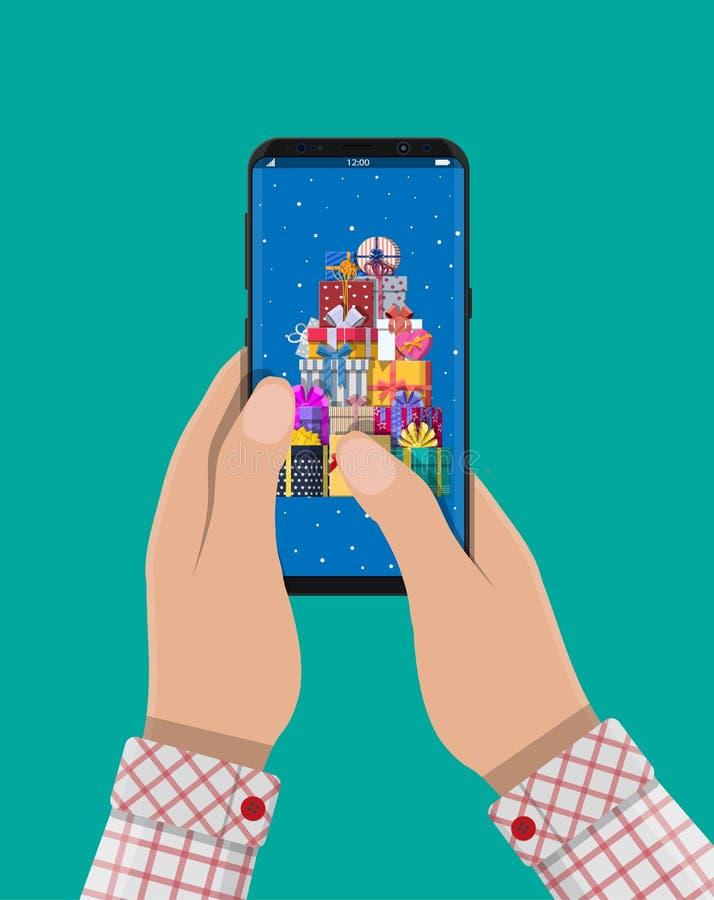 Рука держит smartphone и подарок посылки иллюстрация штока