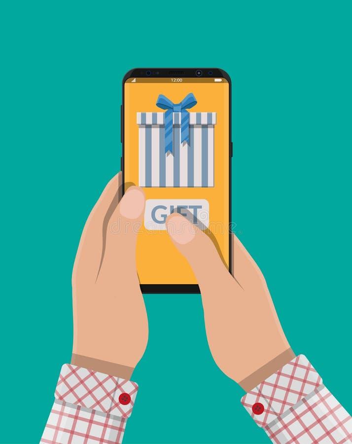 Рука держит smartphone и подарок посылки иллюстрация вектора