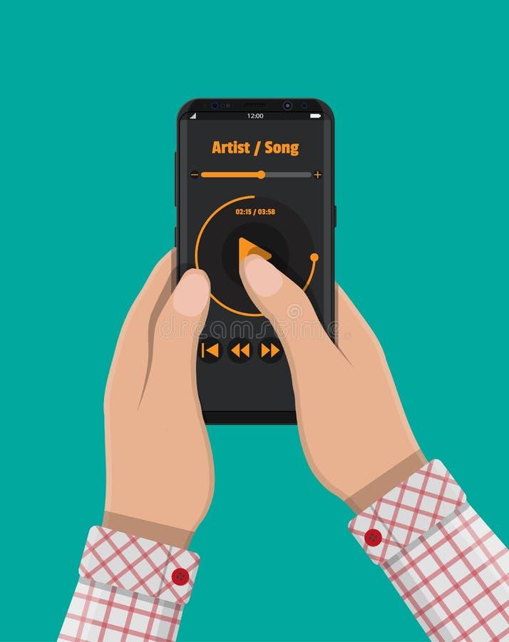 Рука держит smartphone с аудиоплейером бесплатная иллюстрация