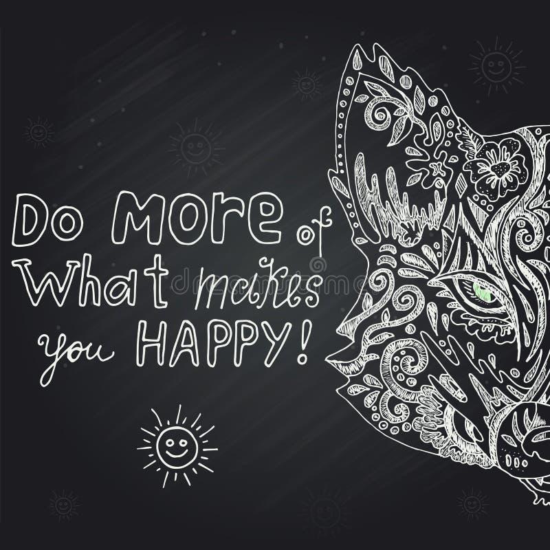 Рука дикой красивой лисы главная нарисованная в меле на черной предпосылке Мода в иллюстрации вектора бесплатная иллюстрация