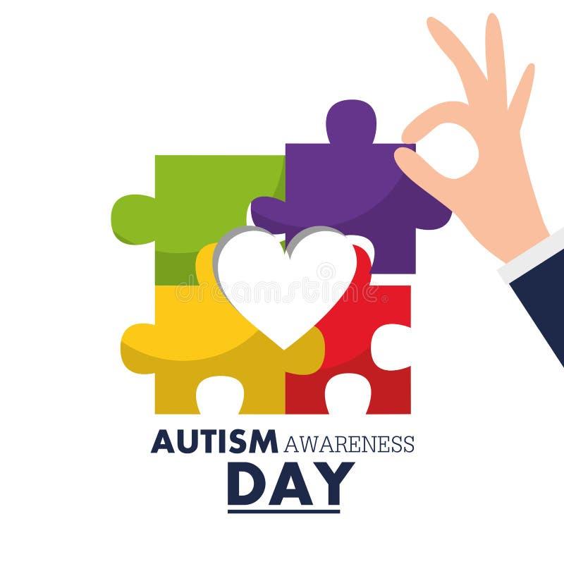 Рука дня осведомленности аутизма держа часть головоломки иллюстрация штока
