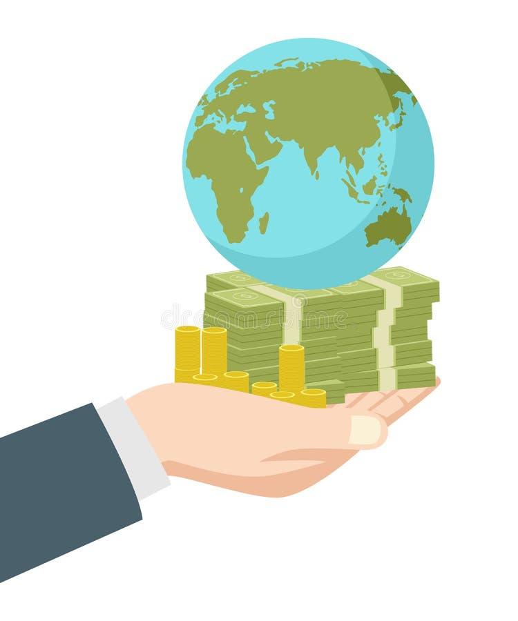 Рука держа глобус денег и земли иллюстрация вектора