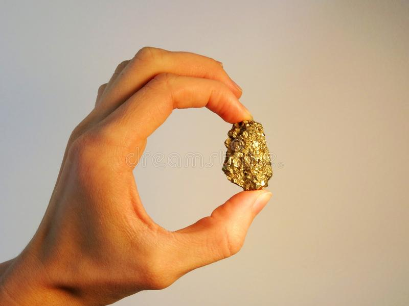 Рука держа золотой самородок стоковые фотографии rf
