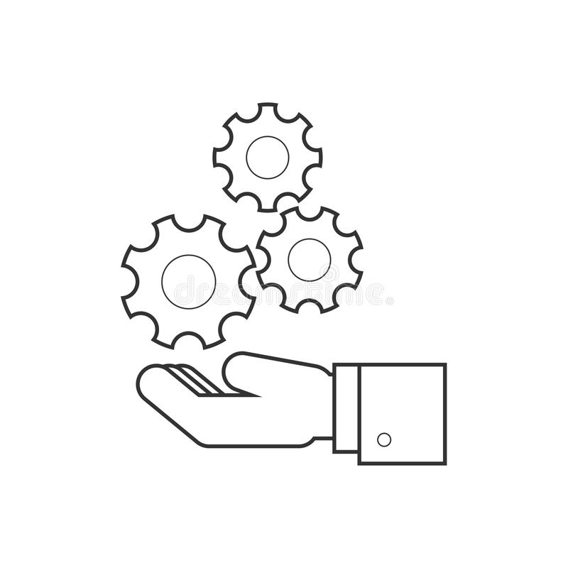 Рука держа линию значок колес иллюстрация штока
