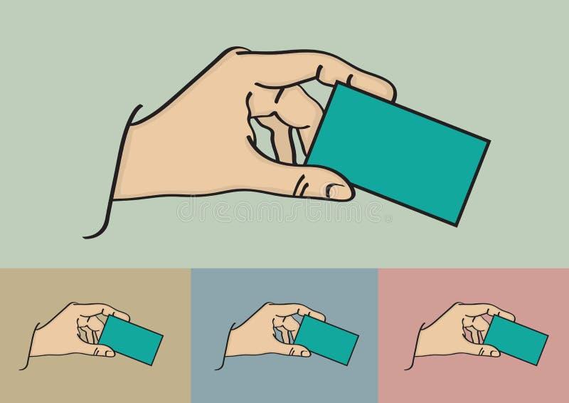 Рука держа иллюстрацию вектора визитной карточки бесплатная иллюстрация