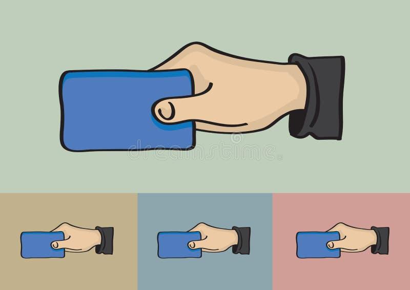 Рука держа иллюстрацию вектора карточки иллюстрация штока