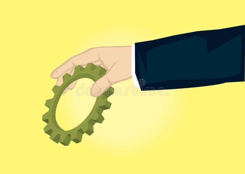 Рука держа иллюстрацию вектора шаржа шестерни бесплатная иллюстрация