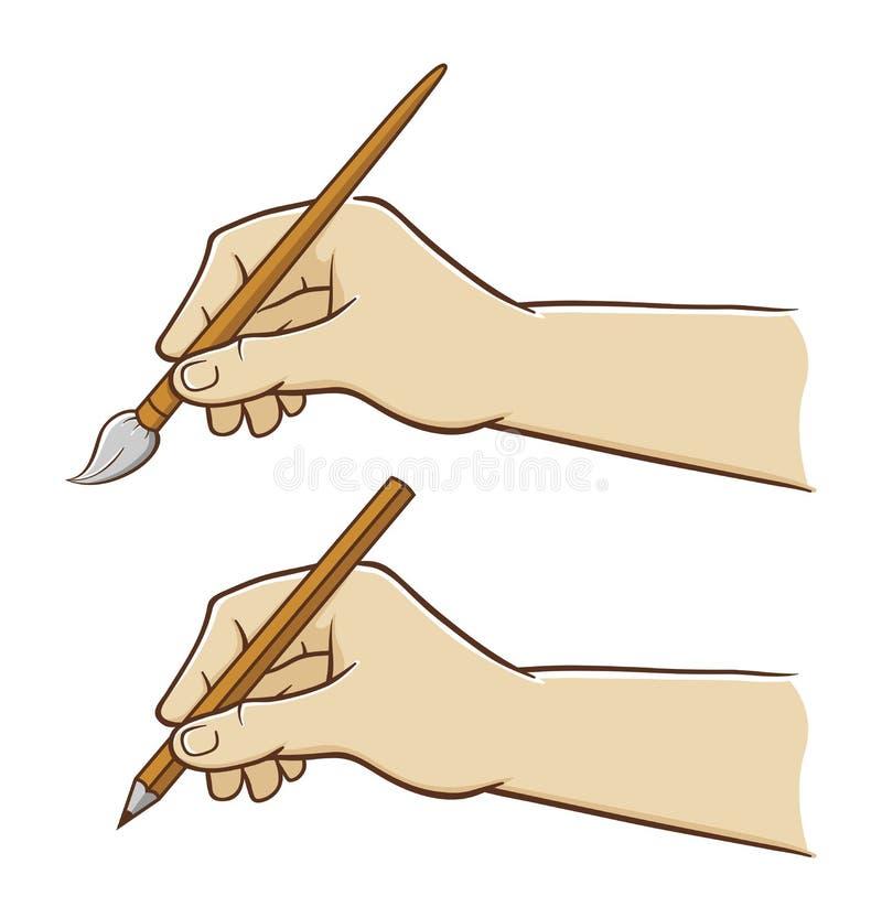 Рука держа карандаш и щетку иллюстрация вектора