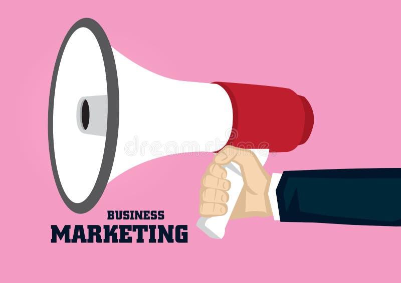 Рука держа мегафон для беды вектора концепции маркетинга дела иллюстрация штока