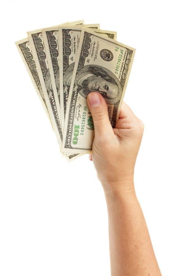 Рука держа доллары стоковая фотография rf