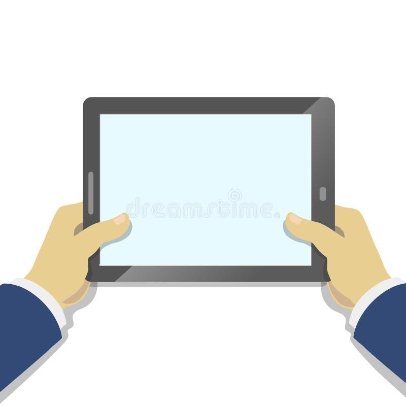 Рука держа ПК таблетки с пустым экраном плоско иллюстрация вектора