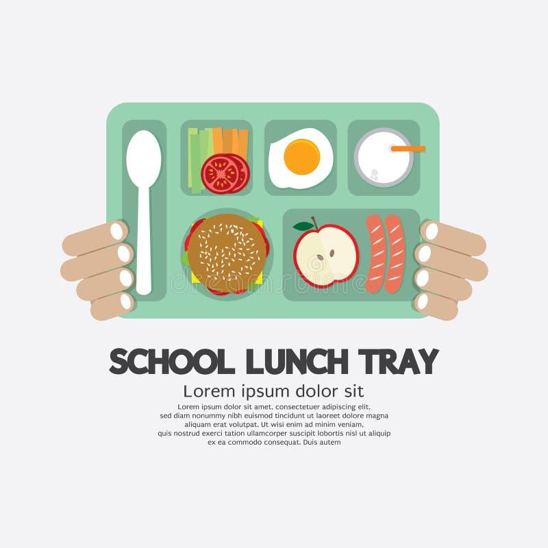 Рука держа поднос школьного обеда бесплатная иллюстрация