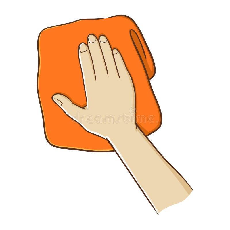 Рука держа полотенце иллюстрация вектора