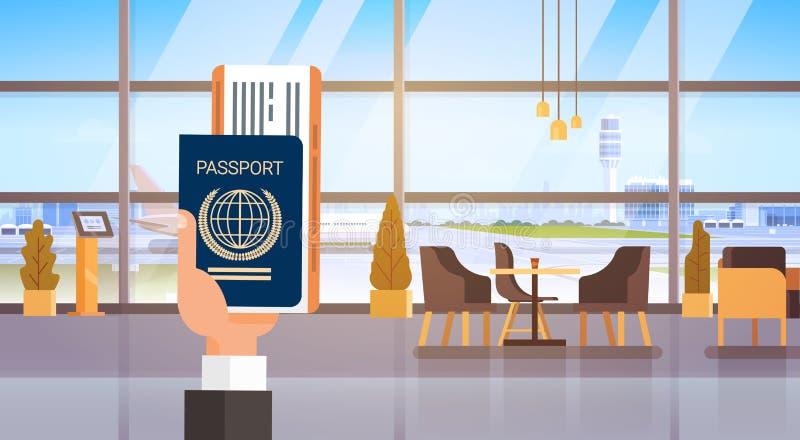 Рука держа предпосылку авиапорта проездного документа посадочного талона билета пасспорта иллюстрация вектора
