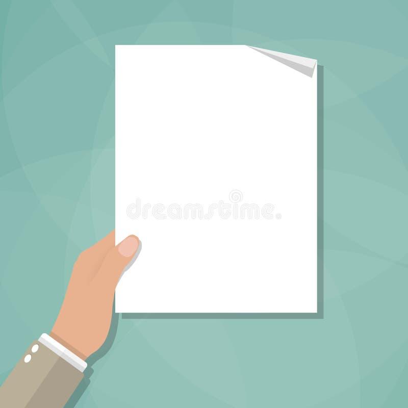 Рука держа пустой чистый лист бумаги бесплатная иллюстрация