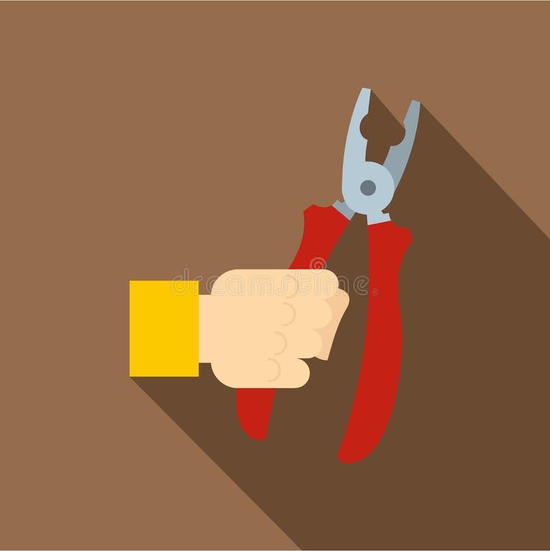 Рука держа плоскогубцы с красным цветом регулирует значок бесплатная иллюстрация