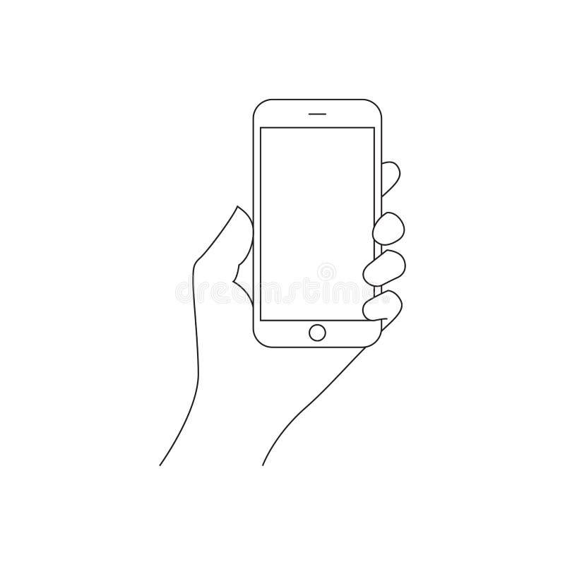 Рука держа умный телефон иллюстрация вектора