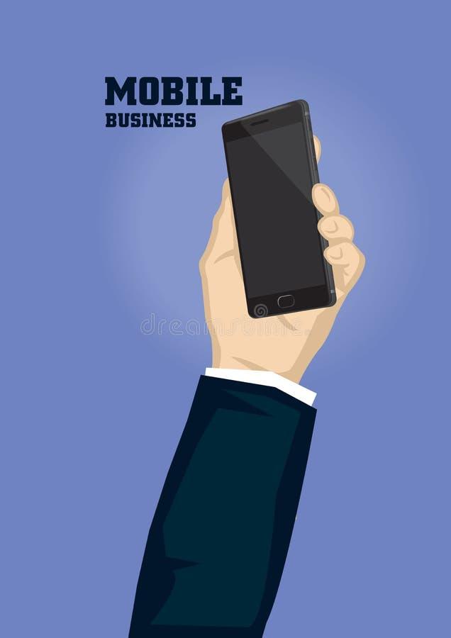 Рука держа черную иллюстрацию вектора шаржа мобильного телефона для бесплатная иллюстрация