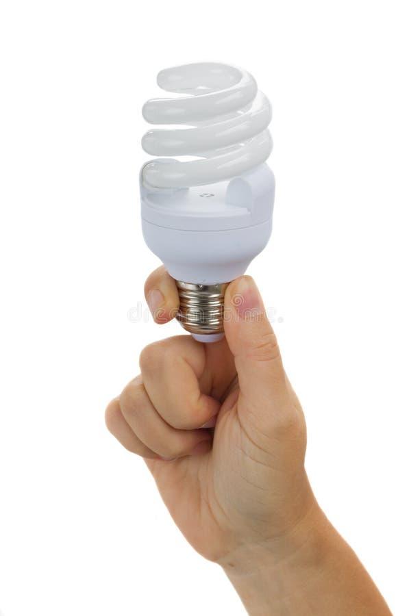 Рука держа электрическую лампочку стоковые изображения rf