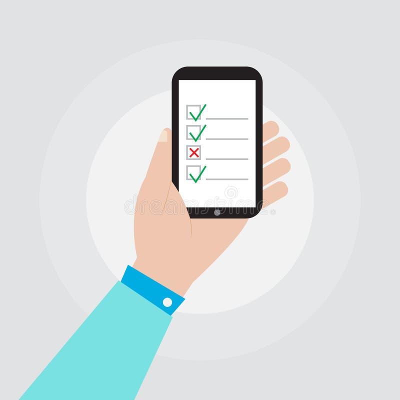 Рука держа smartphone с дизайном вектора значка контрольного списока иллюстрация вектора